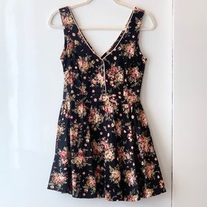 Lucca Couture Vintage Dress, Denim Floral Black, S